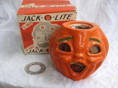 Vintage 1950's Halloween Paper Mache Double Sided Jack O Lantern In Original Box With Flashlight Insert