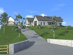 Toomevara 2010 by Darragh Quinn Architects Bungalow Exterior, Bungalow House Plans, Bungalow House Design, Dream House Plans, Rendered Houses, Bungalow Extensions, Dry Stone, Stone Walls, Country Farm