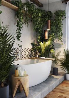 Dream Home Design, My Dream Home, House Design, Dream Bathrooms, Beautiful Bathrooms, Bathrooms With Plants, Home Deco, Bathroom Interior Design, Zen Bathroom Decor