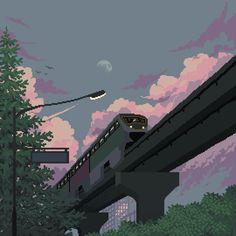 Moonrise Train Art Print by - X-Small Aesthetic Anime, Aesthetic Art, Pixel Art, Arte 8 Bits, 8bit Art, Train Art, Aesthetic Wallpapers, Cute Art, Wallpaper Backgrounds