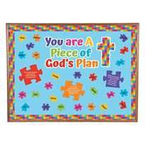 Piece of God's Plan Bulletin Board Set Jazz up your Sunday School classroom décor with colorful puzzle pieces! In fact, this set has everything you need to transform an entire bulletin . Puzzle Bulletin Boards, Religious Bulletin Boards, Christian Bulletin Boards, Summer Bulletin Boards, Back To School Bulletin Boards, Preschool Bulletin Boards, Classroom Bulletin Boards, Classroom Décor, Bulletin Board Ideas For Church
