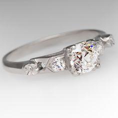1930's Platinum 1/2 Carat Old Euro Diamond Ring