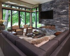 Beautiful Fireplace, no the insert. Builder John Kraemer & Sons' Lake Calhoun Organic Modern residence, winner of 2016 Integrity Red Diamond Achiever Award Modern Family Rooms, Living Room Modern, Hotel Restaurant, Unique House Design, Best Outdoor Furniture, Rustic Furniture, Antique Furniture, Furniture Ideas, Organic Modern