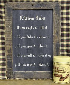 Take a look at this 'Kitchen Rules' Blackboard Wall Art by The Hearthside Collection on #zulily today!