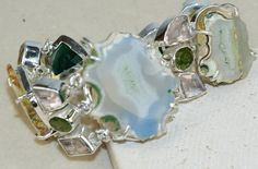 Agate Geode Slice,Rose Quartz,Peridot Faceted bracelet designed and created by Sizzling Silver. Please visit  www.sizzlingsilver.com. Product code: BR-8578