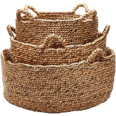 Natural Low Rise Baskets design by Lazy Susan ($258) ❤ liked on Polyvore featuring home, home decor, small item storage, baskets, hand made baskets, storage baskets, water hyacinth basket, handmade home decor and handmade baskets