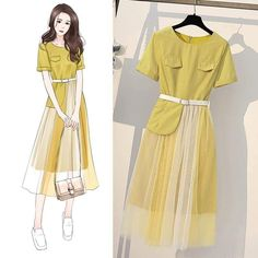 Outfits inspiration 💛 What do you think 💜 شو رايكم 💛 Fashion Drawing Dresses, Fashion Illustration Dresses, Fashion Dresses, Korea Fashion, Kpop Fashion, Girl Fashion, Fashion Design Drawings, Fashion Sketches, Teen Fashion Outfits