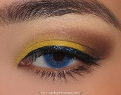 Yellow and Brown with Blue Glitter from Nerdy Girl Makeup