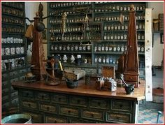 Unlike many apothecary shops, Storm& shop is scrupulously clean, and smells wonderful - the scents of spices and herbs mingle with those of baking bread . Storm Shop, Apothecary Cabinet, Apothecary Shoppe, Apothecary Decor, Apothecary Bottles, Antique Bottles, Vintage Bottles, Vintage Perfume, Antique Glass