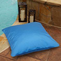 Capri Blue 28-inch Square Indoor/ Outdoor Floor Pillow with Sunbrella Fabric