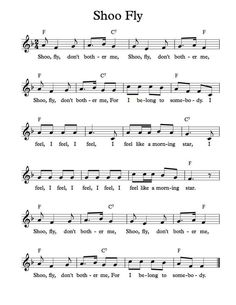 Free Sheet Music - Free Lead Sheet - Shoo Fly Don't Bother Me (Favorite Music Piano Sheet) Silly Songs, Fun Songs, Songs To Sing, Kids Songs, Kindergarten Songs, Preschool Music, Teaching Music, Learning Guitar, Music Lessons For Kids