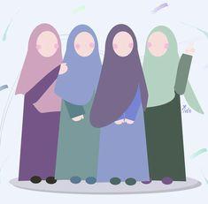 Cartoon Kunst, Cartoon Art, Murals For Kids, Art For Kids, Promotional Stickers, Hijab Drawing, Beautiful Quran Quotes, Islamic Cartoon, Anime Muslim