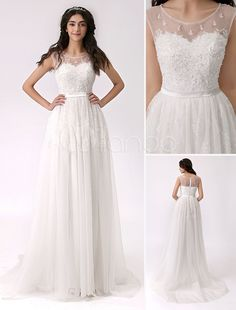 Beaded Side Slit Lace Wedding Dress with Illusion Neckline