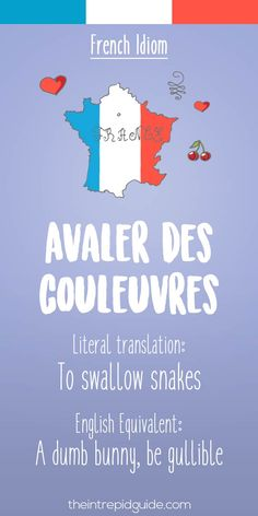 French idiom Avaler des couleuvres