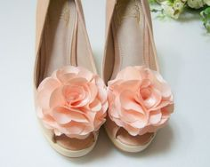 Satin Flower shoe clips in Coral Pink