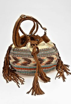 Boho Fringe Aztec Suede Fringe Crossbody Bucket Bag - Brown