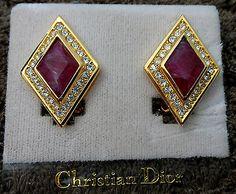 Vintage Authentic Christian Dior Clip-on Earrings Signed ruby red goldtone cz - http://designerjewelrygalleria.com/christian-dior/vintage-authentic-christian-dior-clip-on-earrings-signed-ruby-red-goldtone-cz/