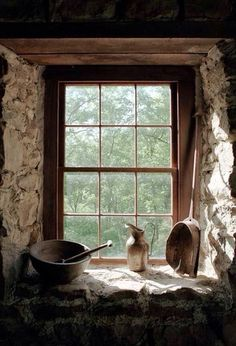 Quartz stone window sill designed by Listone is of high quaity and good performance, if you want to buy window sill, inquire us now. Old Windows, Windows And Doors, Ventana Windows, Vie Simple, Cottage Windows, Country Kitchen Farmhouse, Stone Houses, Stone Cottages, Window View