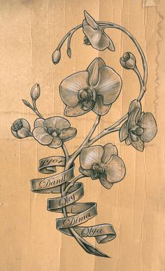 orchid tattoo sketch by *DLXONE on deviantART    Thinking about something like this but without the ribbon