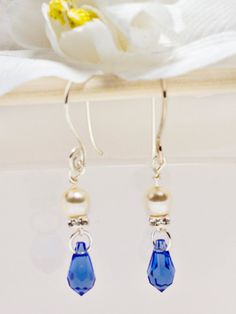 Sapphire Blue Cream Pearl Silver Crystal Dangle Earrings, Sterling Silver Earrings, Blue Earrings, Gift Ideas, Free Shipping,Spiral Ear Wire