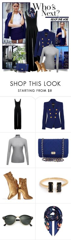 """""""Who´s Next?"""" by chris101287 ❤ liked on Polyvore featuring Nadia Tarr, Balmain, Chanel, Trilogy, Gianvito Rossi, Ray-Ban, Salvatore Ferragamo, jumpsuit, turtleneck and rockthevote"""