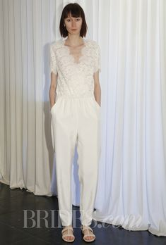 """Brides.com: Houghton - Spring 2014. """"Selena"""" romper wedding dress in sequin, lace, and silk, with v-neck and short sleeves, Houghton"""