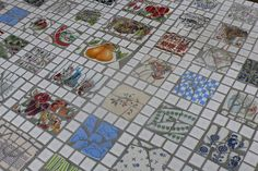 broken plate mosaic, tiled floor