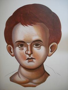 Face of Christ Child.  Style of Panselinos. Stage 5.