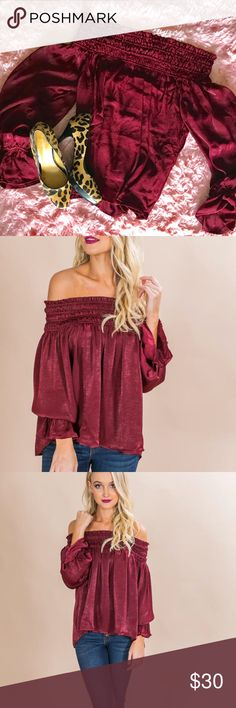 Off Shoulder WINE silky blouse flowy puff sleeves From My fave boutique called Impressions!  This lovely piece speaks for itself. Dress it up or down. Never worn! Wine color with super soft silky feel.  Impression boutique is a brand itself with high ratings! NWOT Tops Blouses