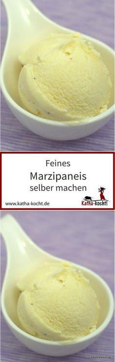 Wer Marzipan mag wird dieses Marzipaneis lieben - es ist süß, lecker, cremig und einfach ein traumhaftes Dessert. Das Rezept für dieses zarte Eis gibt es auf katha-kocht!