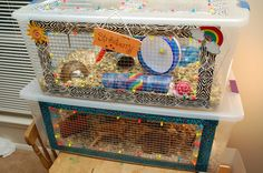 DIY Hamster Cage (Bin Cage) - Not sure about putting side windows in but I love the colorful decorative tape and zip ties!