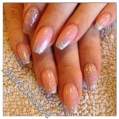 Nude coffin nails, gel nails, shellac, glitter nails