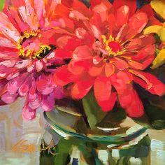 zinnias, original oil painting by Kim Myers Smith