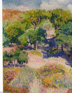 Cyprès, huile sur toile de Henri Edmond Cross (1856-1910, France)
