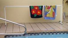 Pool towel racks are great to dry out wet but perfectly clean towels so they can be used again later in the day or stored away with your supply of beach/pool towels. Make one yourself for a few bucks in PVC components using plans from eHow.