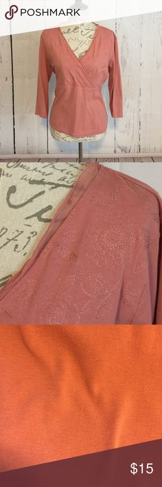 J. Jill Pink Cross Over Top Cute and comfy cotton top with embroidery and silk trim. There is a teeny tiny pin hole towards the bottom on the front. I have shown it in the third photo. Size L J. Jill Tops
