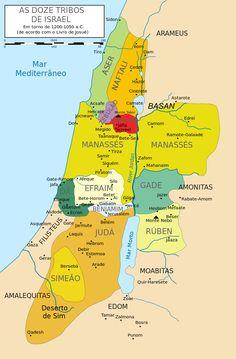 12 Tribes of Israel Map-pt - Tribos de Israel – Wikipédia, a enciclopédia livre