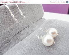 Year End Sale Elegant Floating Pearl by weddingbellsdesigns