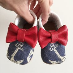 Anchor bow moccs  baby toddler moccasins clothes shoes baby shower ideas  baby food maternity baby girl announcement milestones breastfeeding 1st birthday first birthday nautical