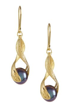 14K Yellow Gold 10mm Freshwater Pearl Mesh-Like Dangle Wrap Earrings on @HauteLook