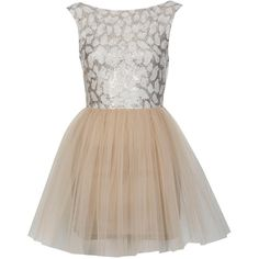 Miss Selfridge Petites Lace Tutu Dress ($80) ❤ liked on Polyvore featuring dresses, vestidos, short dresses, vestiti, nude, petite, lace mini dress, prom dresses, short prom dresses and sequin mini dress