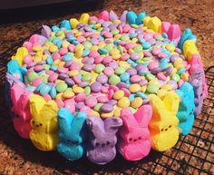 Easter cake! Made by me  #easter #peeps #m&ms #eastercake #funfetticake #spring #colorful #yummy