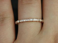 Rosados Box Baguettella Rose Gold Thin Horizontal Baguette Diamond Eternity Band -- stackable recycled gold, American Made, conflict-free diamonds Full Eternity Ring, Eternity Ring Diamond, Eternity Bands, Diamond Rings, Diamond Jewelry, Diamond Cuts, Gold Jewelry, Gemstone Jewelry, Thin Diamond Band