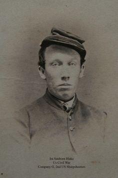 Ira Sanborn Blake (1835-64), Company G, 2nd U.S. sharpshooters, shot ...
