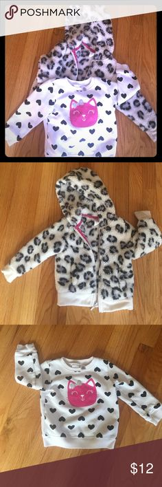 Bundle of 2 cat/cheetah print sweatshirts! 🐾🐾 2 adorbs 💕💕cat/cheetah 🐾🐾print sweatshirts! Perfect for your lil fashionista who loves animal prints!! I'm great condition and lotsa life left for a new lil princess 👑to use!! Reasonable Offers are welcomed !!😘 cat sweatshirt is size 18 months and cheetah hoodie is size 2T. Shirts & Tops Sweatshirts & Hoodies