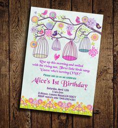 Birds 1st Birthday Party Invitation  Printable DIY by StudioDMD, $10.00