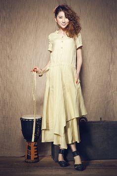 Maxi abito in lino  lino Cocktail Dress  Abito da di camelliatune
