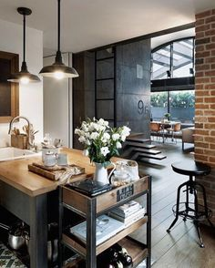 Industrial Style Loft with charming elements to add to your home decor. A breath of fresh air into your industrial style loft. In an industrial style world, the interior design project of today will m Loft Industrial, Industrial Living, Industrial Interiors, Kitchen Industrial, Industrial Design, Industrial Furniture, Industrial Apartment, Industrial Restaurant, Industrial Farmhouse