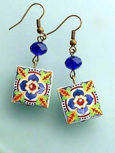 Portugal Antique Blue Azulejo Tile  Replica Earrings from by Atrio,