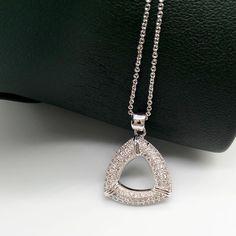 Fashion 925 SILVER CZ Triangle Crystal Pendant Necklace Chain Christmas Gift #Unbranded #Fashion #Anniversarywedding